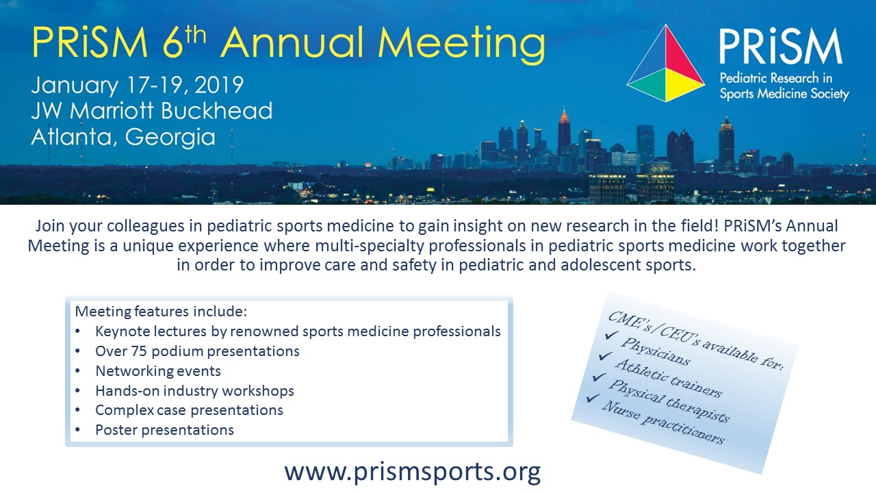 annual meeting pediatric research in sports medicine society prism